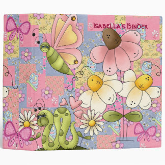 Binder Girls Butterfly Flowers Pink Patch 2 large