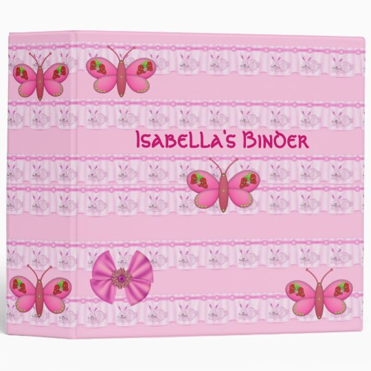 Binder Girls Pink Bunny Rabbits Butterfly large