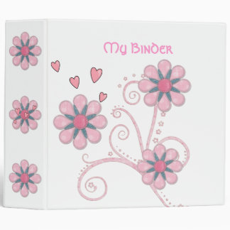 Binder Girls Pink Hearts Flowers
