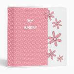 Binder Girls Pink Spot Flowers 3 Ring Binder