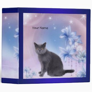 Binder Grey Cat in Blue Flowerworld