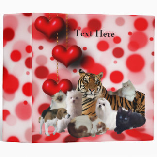 Binder I Love Animals Tiger Cats Dogs
