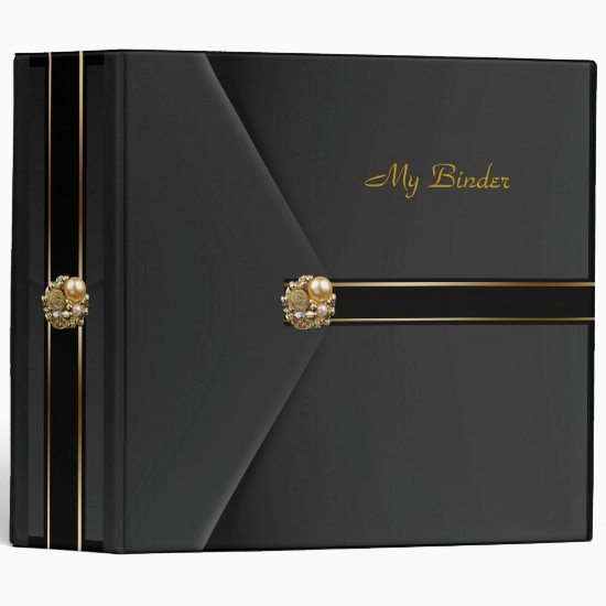 Binder Rich Black Velvet Look Gold Pearl Jewel
