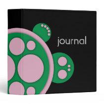 Binder, Round Turtle, Pink Green Black 3 Ring Binder