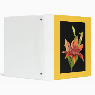Binder, Tiger Lily and Buds, yellow back 3 Ring Binder