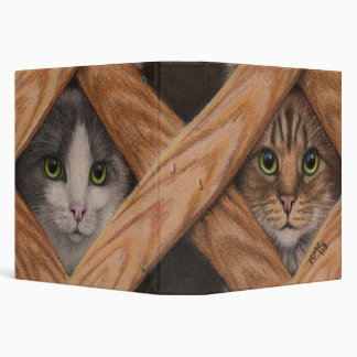 Binder two Cats behind lattice fence