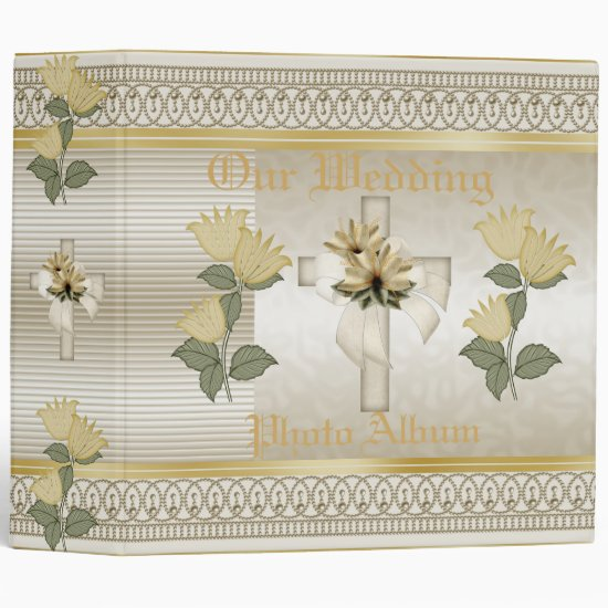 Binder Wedding Photo Album Floral Cross Pearl