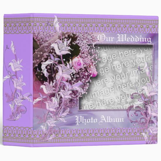 Binder Wedding Photo Album Mauve Floral Frame
