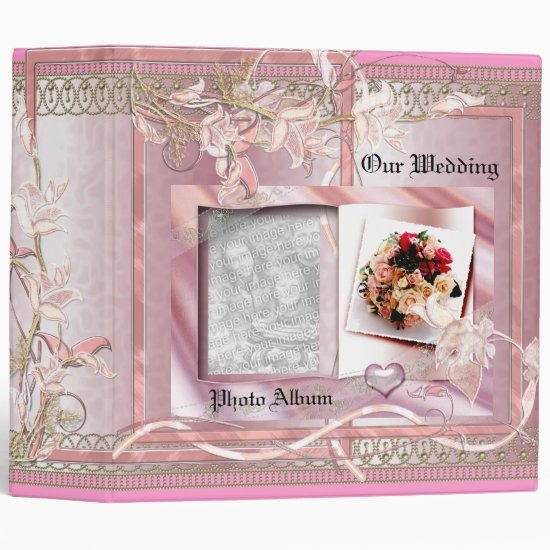 Binder Wedding Photo Album Pink Floral Frame