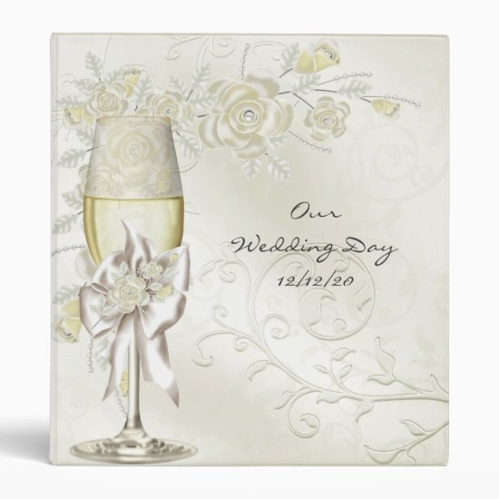 Binder Wedding Photos Gold Cream Pearl Floral Rose
