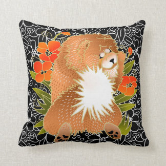 BINDI MINGSIE -red chow pillow-right/left facing Throw Pillow