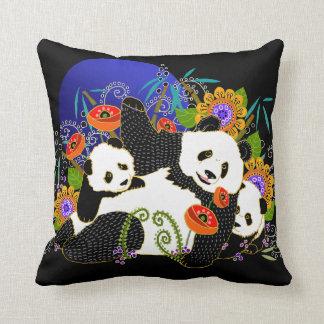 BINDI PANDAS pillow-change background color Throw Pillow