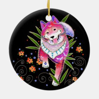 BINDI SHIBA INU customize background color Ceramic Ornament
