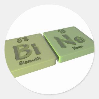 Bine as Bi Bismuth and Ne Neon Classic Round Sticker