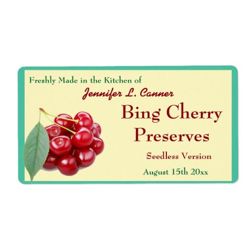 Bing Cherry Jam or Preserves Canning Jar Shipping Label