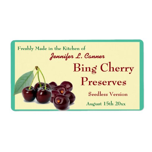 Bing Cherry Jam or Preserves II Canning Jar Personalized Shipping Label