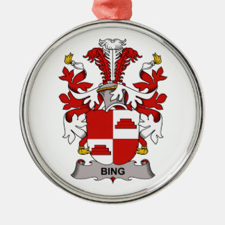 Bing Family Crest Round Metal Christmas Ornament