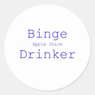 Binge Apple Juice Drinker Black Blue Red Classic Round Sticker