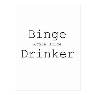 Binge Apple Juice Drinker Black Blue Red Postcard