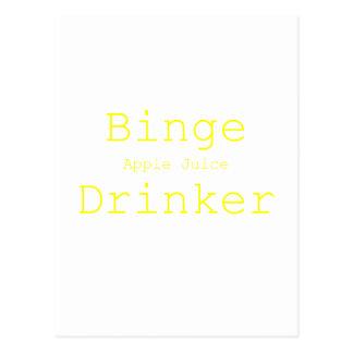 Binge Apple Juice Drinker Yellow Green Pink Postcard