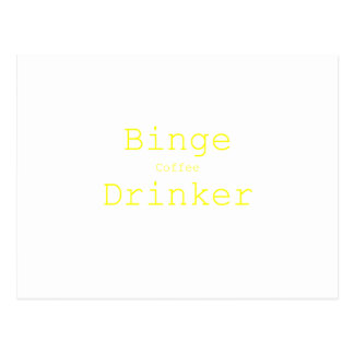 Binge Coffee Drinker Yellow Green Pink Postcard
