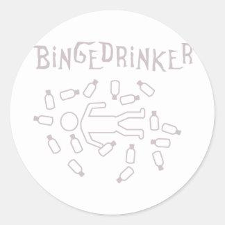 binge drinker icon round stickers