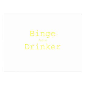 Binge Juice Drinker Yellow Green Pink Postcard