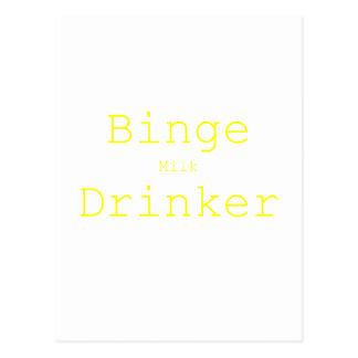 Binge Milk Drinker Black Blue Red Postcard