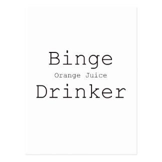Binge Orange Juice Drinker Black Blue Red Postcard