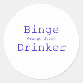 Binge Orange Juice Drinker Black Blue Red Stickers