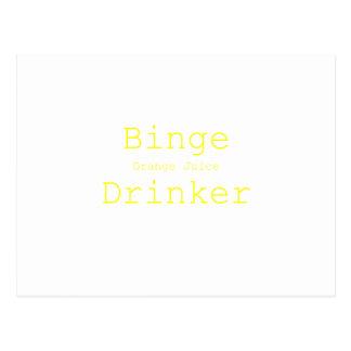 Binge Orange Juice Drinker Yellow Green Pink Postcard