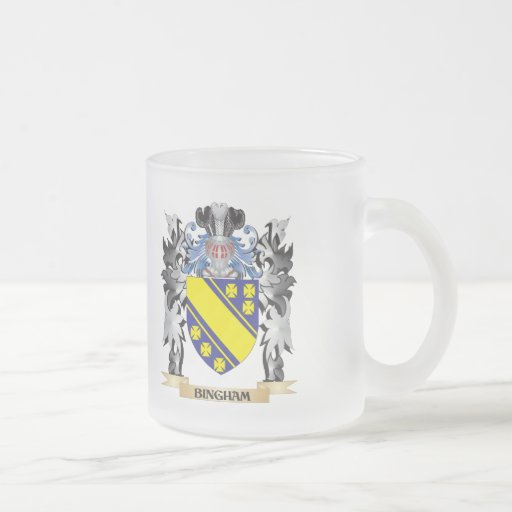 Bingham Coat of Arms - Family Crest 10 Oz Frosted Glass Coffee Mug