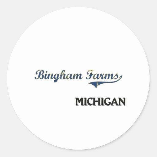 Bingham cultiva la obra clásica de la ciudad de pegatina redonda