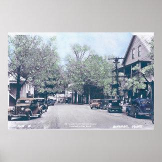 Bingham Maine - calle principal con los coches vie Posters