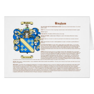 Bingham (meaning) card