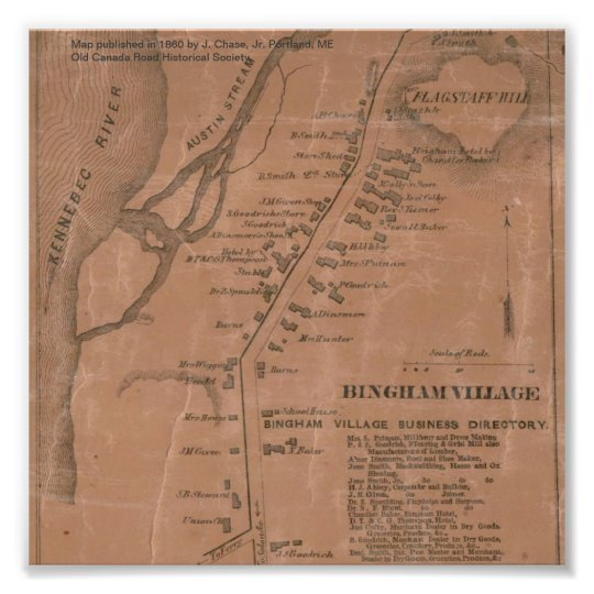Bingham Village (Maine) 1860 Map Photo Print