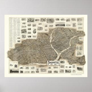 Binghamton, mapa panorámico de NY - 1901 Póster