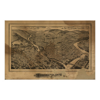 Binghamton New York 1882 Antique Panoramic Map Poster