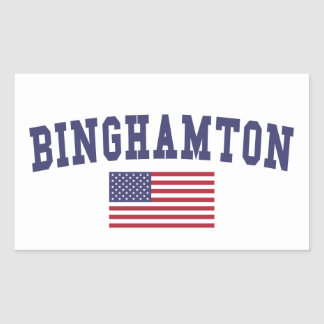 Binghamton US Flag Rectangular Sticker