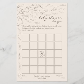 Bingo Baby Shower Games Party Stationery Ivory