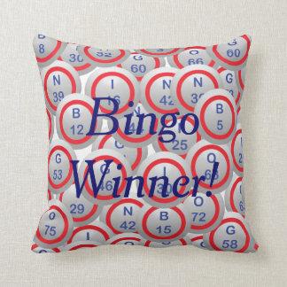 Bingo Balls Bingo Winner in Blue Throw Pillow