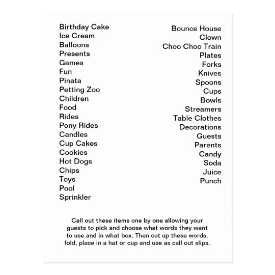 Bingo Card Birthday Party Call Out Words