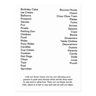 Bingo Card Birthday Party Call Out Words Postcard
