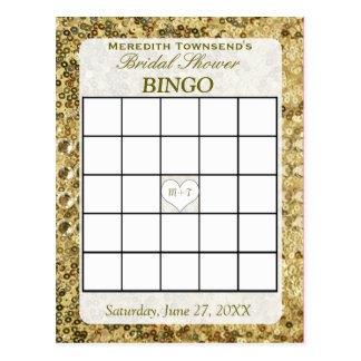 Bingo Card - Gold Sequins