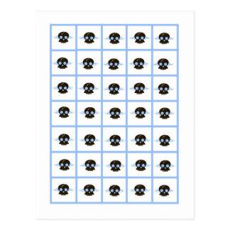 Bingo Card Markers Boy Blue Punk Rocker Skull Postcard