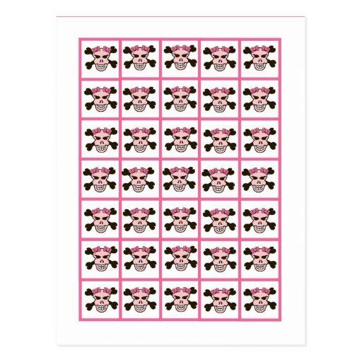 Bingo Card Markers Girl Pink Punk Rock Skull Cross Postcard
