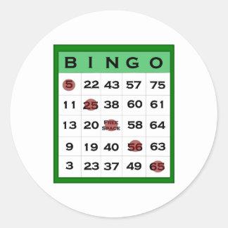 bingo card round sticker