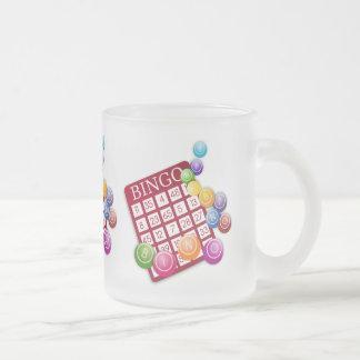 BINGO Card with BINGO Balls Frosted Glass Coffee Mug