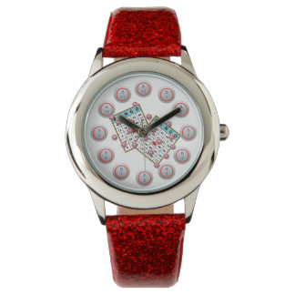 Bingo Cards and Numbered Bingo Ball Face Wrist Watch