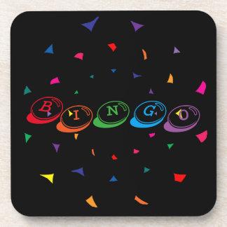 BINGO Colorful Lettering on Black Beverage Coaster